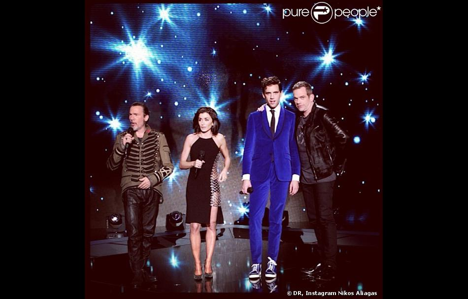 Photo des coachs de The Voice 3 de Nikos Aliagas : Florent Pagny, Jenifer, Mika et Garou
