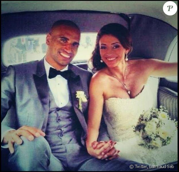 Rachel Legrain-Trapani et Aurélien Capoué, superbes et amoureux, lors de leur mariage le 8 juin 2013.