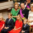 La princesse Eleonore, le prince Gabriel, la princesse Elisabeth et le prince Emmanuel de Belgique lors de l'intronisation de leur père le roi Philippe le 21 juillet 2013