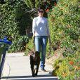 Anne Hathaway a laissé un sac d'excrément de sa chienne Esmeralda sur la voiture d'un photographe qui l'approchait de trop près, à Los Angeles le 26 décembre 2013