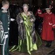 La reine Margrethe II de Danemark au palais Christian VII d'Amalienborg, à Copenhague, le 1er janvier 2014 pour le banquet du Nouvel An