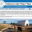Page d'accueil du site de l'Association Baby & Nepal instaurée par la princesse Stéphanie pour les éléphantes qu'elle a sauvées.