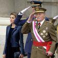 Le roi Juan Carlos Ier d'Espagne célébrait le 6 janvier 2014 à Madrid, avec la reine Sofia, le prince Felipe et la princesse Letizia, la Pâque militaire, dans un contexte de crise de confiance aggravée vis-à-vis de la monarchie.