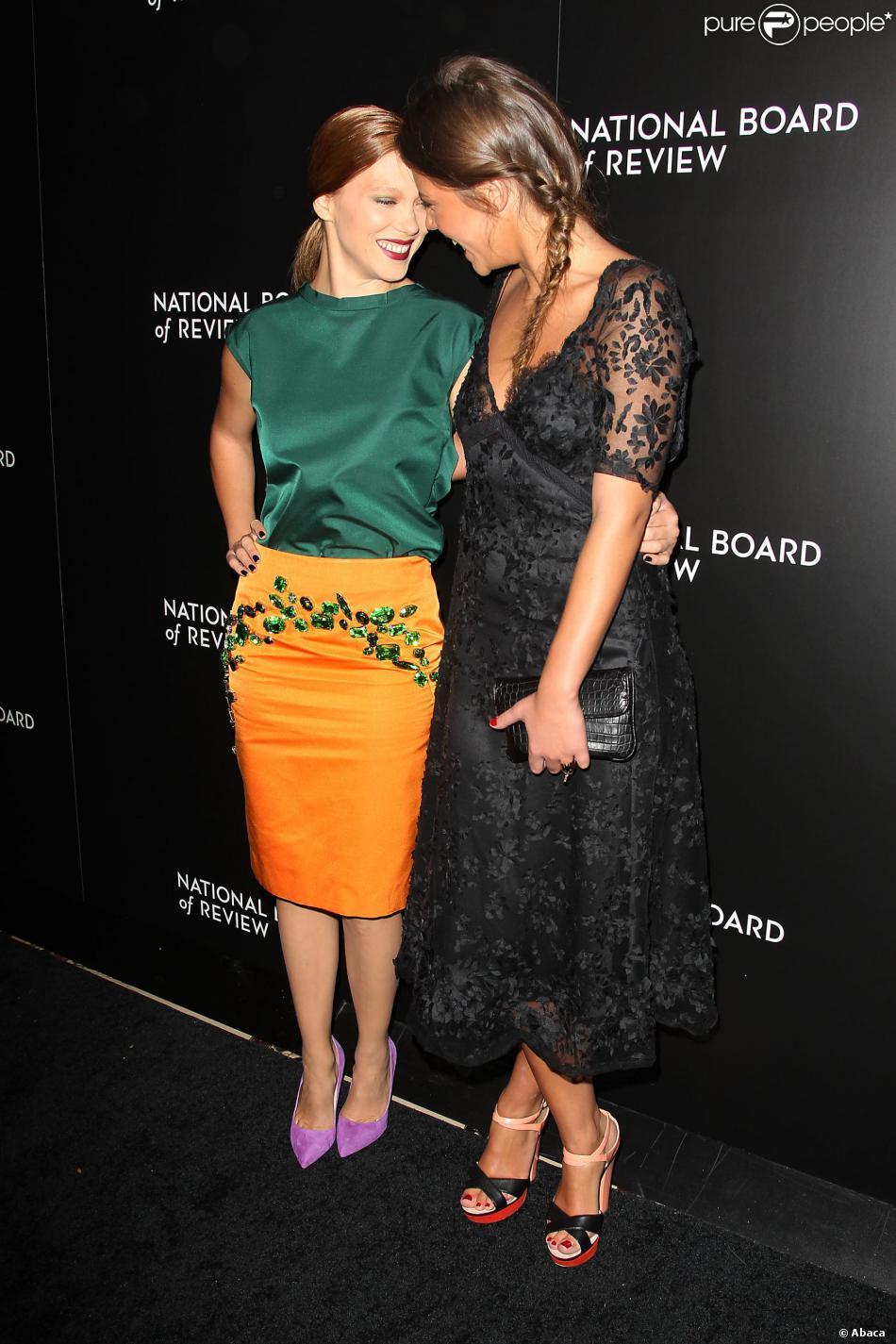 Léa Seydoux et Adèle Exarchopoulos lors des National Board of Review Awards 2014 à New York le 7 janvier 2014.