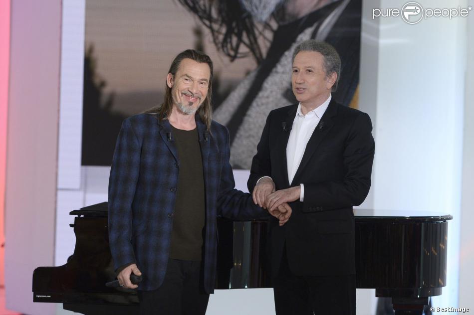 Florent Pagny et Michel Drucker dans Vivement Dimanche, le mercredi 15 janvier 2014 (diffusion prévue le dimanche 19 janvier 2014).