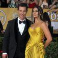 Matthew McConaughey et sa femme Camila Alves (en Casadei) lors de la 20e cérémonie des Screen Actors Guild Awards au Shrine Exposition Center de Los Angeles, le 18 janvier 2014.