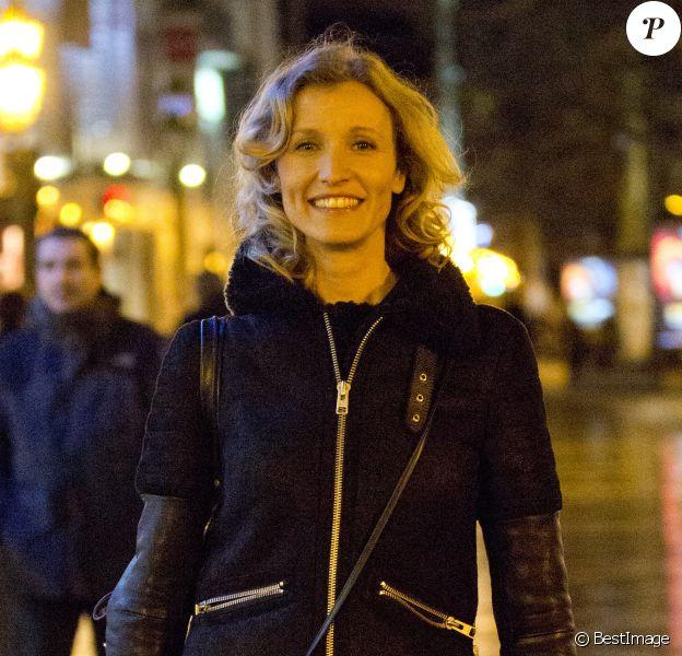 Exclusif - Alexandra Lamy arrivant à Bruxelles en Belgique le jeudi 16 janvier 2014