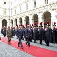 Visite officielle inaugurale du roi Willem-Alexander et de la reine Maxima des Pays-Bas en Italie le 23 janvier 2014, reçus à Rome au palais du Quirinal par le président Giorgio Napolitano et son épouse Clio.