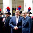 Visite officielle inaugurale du roi Willem-Alexander et de la reine Maxima des Pays-Bas en Italie le 23 janvier 2014, reçus à Rome au palais Chigi par le Premier ministre Enrico Letta