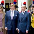 Visite officielle inaugurale du roi Willem-Alexander et de la reine Maxima des Pays-Bas en Italie le 23 janvier 2014, reçus à Rome au palais Chigi par le Premier ministre Enrico Letta et son épouse Gianna Fregonara.