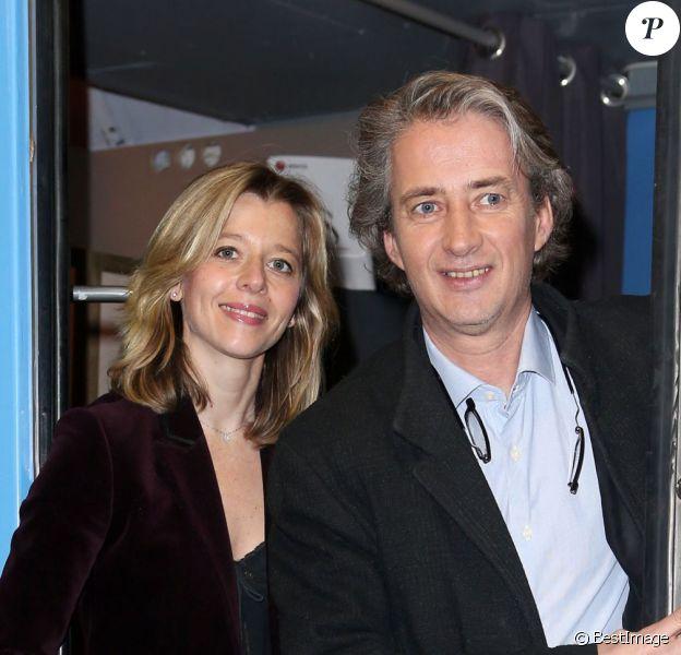 """Wendy Bouchard et Nicolas Poincarélors de l'inauguration du """"Train Europe 1"""" pour les municipales 2014 à Paris le 2 février 2014"""