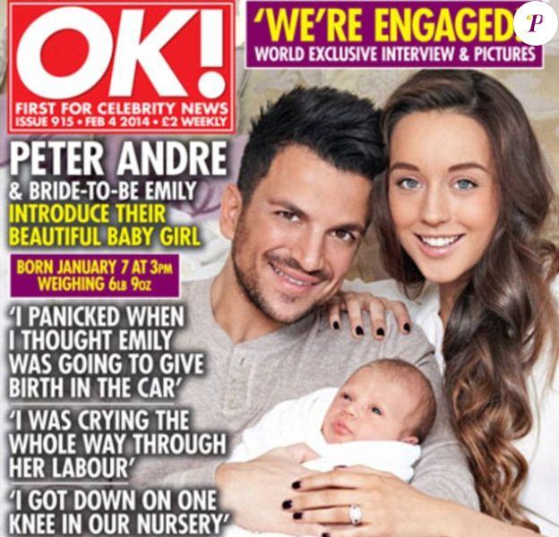 Peter Andre en couverture du magazine OK avec sa compagne Emily Mac Donagh et leur fille née le 7 janvier 2014.