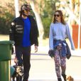 Exclusif - Leighton Meester et son fiancé Adam Brody dans les rues de Los Angeles, le 22 décembre 2013.