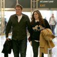 Quentin Tarantino en charmante compagnie avec une mystérieuse femme au LAX, Los Angeles, en partance pour Paris, le 26 février 2014.