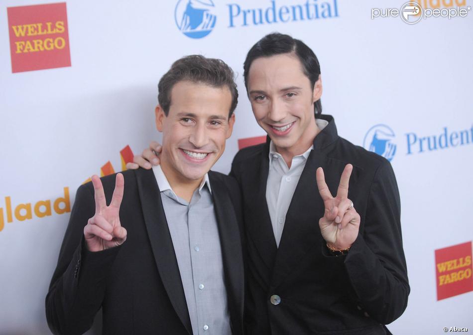 Victor Voronov et Johnny Weir à la 23e cérémonie des Annual GLAAD Media Awards à New York, le 24 mars 2012.