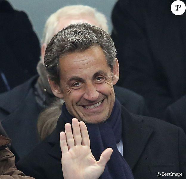 Nicolas Sarkozy lors du match amical France contre Pays-Bas au Stade de France à Saint-Denis le 5 mars 2014.
