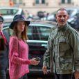 Exclusif - Christian Audigier et sa fiancée Nathalie Sorensen lors de leur week-end en amoureux à Paris le 27 septembre 2013.