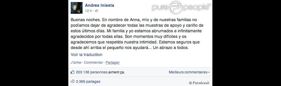 Message facebook d 39 andr s iniesta apr s la fausse couche - Retour des regles apres fausse couche ...