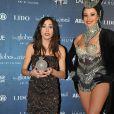 Olivia Ruiz récompensée lors de la 8e cérémonie des Globes de Cristal au Lido à Paris le 4 février 2013.