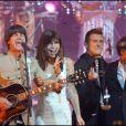 """Karen Cheryl, Hervé Christiani, The Rabeats et Michal lors de l'enregistrement des """"Années bonheur"""" sur France 2 en mai 2007"""