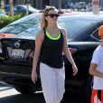 Reese Witherspoon sort de son cours de gym à Brentwood, le 16 mars 2014.