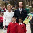 Le prince Edward et la comtesse Sophie de Wessex en visite à l'école primaire Robert Browning à Londres le 10 mars 2014, le jour des 50 ans de son époux le prince Edward.
