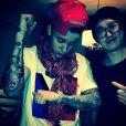 Justin Bieber et le tatoueur Seunghyun Jo, le 25 mars 2014.