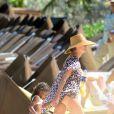 Heidi Klum et ses enfants Leni, Henry, Johan et Lou profitent des joies de la plage sur Paradise Island aux Bahamas, le 23 mars 2014.