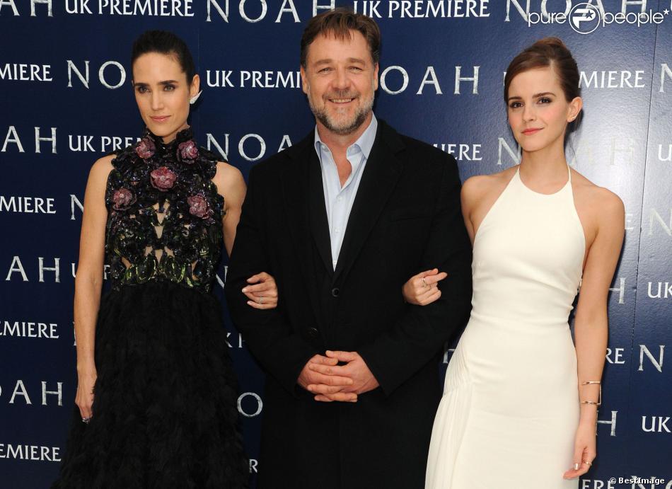 Jennifer Connelly, Russell Crowe et Emma Watson lors de l'avant-première du film Noé à Londres, le 31 mars 2014.
