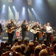 Rey, Babato, Kema, Joseph Gautier, Mounin et Chico lors du concert de Chico & The Gypsies à l'Olympia à Paris, le 15 avril 2014.