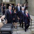 Dominique Strauss-Kahn et Anne Sinclair quittant le tribunal de Manhattan à New York, le 23 août 2011. Les poursuites viennent d'être abandonnées.