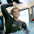 Ian Thorpe lors de sa victoire sur 200m nage libre aux JO d'Athènes, le 16 août 2004