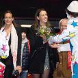 """Exclusif - SAS la princesse Stephanie de Monaco et sa fille Pauline Ducruet assistent à une représentation du 3eme festival international du cirque """"New Generation"""" présidé par Pauline Ducruet à Monaco, le 1er fevrier 2014. Pendant la représentation un hommage a ete rendu a SAS la princesse Stephanie de Monaco à l'occasion de son anniversaire."""