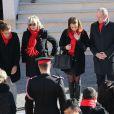 Le Prince Albert II de Monaco, la Princesse Stephanie et sa fille Pauline Ducruet lors du deploiement des Courtepointes avec FightAids Monaco - Monaco 29/11/2013