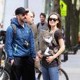 Olivia Wilde et Jason Sudeikis avec leur bébé à New York, le 1er mai 2014.