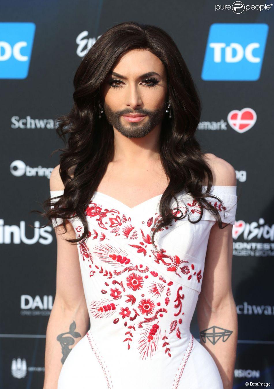 Conchita Würst (candidate pour l'Autriche) lors de la cérémonie d'ouverture du 59ème concours de l'Eurovision à l'Hôtel de Ville de Copenhague. Le 4 mai 2014.