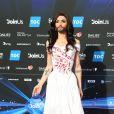 Conchita Würst (candidate pour l'Autriche) assiste à la cérémonie d'ouverture du 59ème concours de l'Eurovision à l'Hôtel de Ville de Copenhague. Le 4 mai 2014.