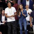 Jay Z et Beyoncé assistent au match opposant les Brooklyn Nets aux Miami Heat, au Barclays Center. New York , le 12 mai 2014.