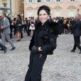 Mouna Ayoub lors du défilé Croisière Louis Vuitton organisé sur le parvis du palais princier de Monaco, le 17 mai 2014, et placé sous le haut patronage de la princesse Charlene.