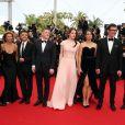 """Maxim Emelianov, Zukhra Duishvili, Bérénice Bejo, Michel Hazanavicius et Abdul-Khalim Mamatsuiev - Montée des marches du film """"The Search"""" lors du 67e Festival du film de Cannes le 21 mai 2014"""