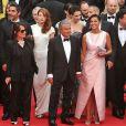 """Elodie Fontan, Ary Abittan, Julia Piaton, Frédérique Bel, Chantal Lauby, Christian Clavier et Isabelle De Araujo (Bijoux APM Monaco) - Montée des marches du film """"Jimmy's Hall"""" lors du 67e Festival du film de Cannes le 22 mai 2014"""