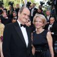 """Pierre Lescure à la montée des marches du film """"Sils Maria"""" lors du 67e Festival du film de Cannes le 23 mai 2014."""