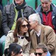 Elsa Zylberstein et son pere Albert Zylberstein aux Internationaux de France de tennis de Roland Garros à Paris, le 27 mai 2014.