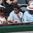 Patrick Bruel et sa compagne Caroline, Michel Drucker aux Internationaux de France de tennis de Roland Garros à Paris, le 6 juin 2014. People during the French Tennis Open in Roland Garros in Paris on june 6, 2014.06/06/2014 - Paris