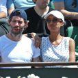 Jalil Lespert et sa compagne Sonia Rolland aux Internationaux de France de tennis de Roland Garros à Paris, le 6 juin 2014