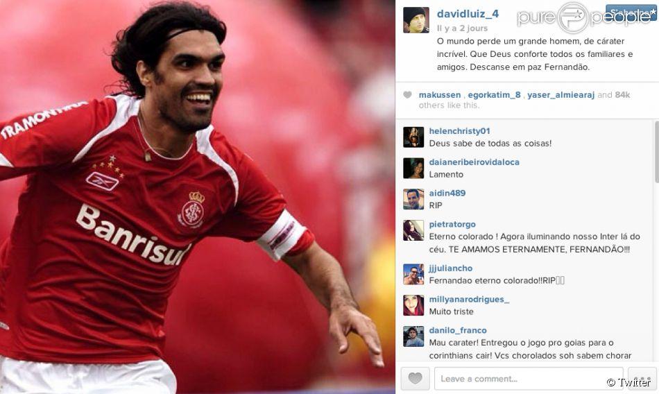 David Luiz rend hommage à Fernandao sur Instagram - juin 2014