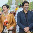 """L'ex-star du PSG Rai et Cristina Cordula lors de l'inauguration du Grand Carnaval brésilien """"Sensacional Brasil"""" au Jardin d'Acclimatation à Paris, le 12 avril 2014."""