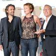 Aymeric Caron, Natacha Polony et Laurent Ruquier - Photocall de la conférence de presse de rentrée de France TV au Palais de Tokyo en 2013.