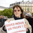 La chanteuse Jane Birkin - Marche de femmes, place du Trocadéro, à l'initiative de l'écrivain Amanda Sthers pour appeler à la libération de jeunes filles enlevées par le groupe Boko Haram au Nigéria à Paris le 13 mai 2014