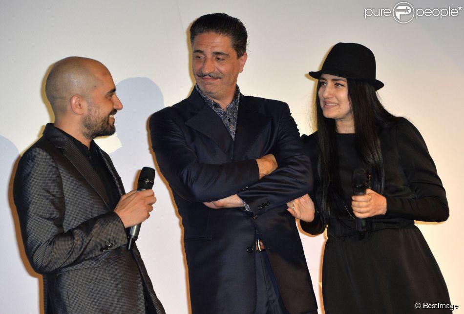 """Exclusif - Simon Abkarian, Ronit et Shlomi Elkabetz lors de l'avant-première du film """"Le procès de Viviane Amsalem"""" dans le cadre du 3e Champs-Elysées Film Festival au Publicis à Paris, le 17 juin 2014."""